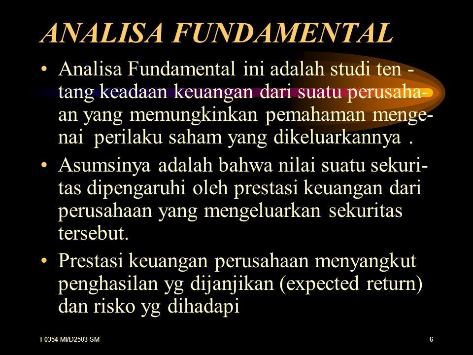 F0354-MI/D2503-SM37 Perbedaan Analisis Fundamental dan Tehnikal : Variabel Fundamental Tehnikal 1.