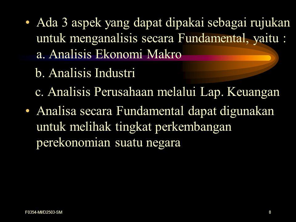 F0354-MI/D2503-SM19 Informasi yang diperlukan investor tentang indus - tri adalah : - Sifat industri : monopolistis atau kompetitif - Tingkat pengaturan : ketat seperti BUMN atau l longgar - Peranan Serikat Pekerja : Hubungan perburuhan - Pengaruh Tehnologi : tehnik produksinya, padat karya atau pada t modal - Hubungan dengan kekuatan ekonomi : bagaimana hubungan permintaan barang dan jasa industri dengan variable ekonomi - Keadaan Finansial dan Operasi : ketersediaan tenaga kerja, bahan dan modal sahamnya