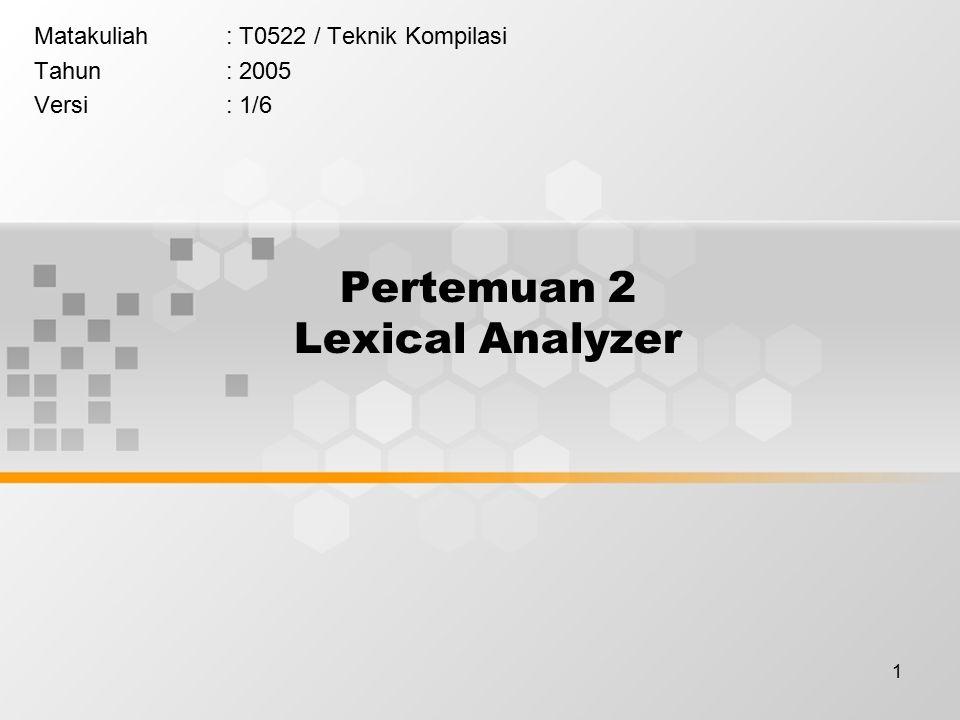 1 Pertemuan 2 Lexical Analyzer Matakuliah: T0522 / Teknik Kompilasi Tahun: 2005 Versi: 1/6