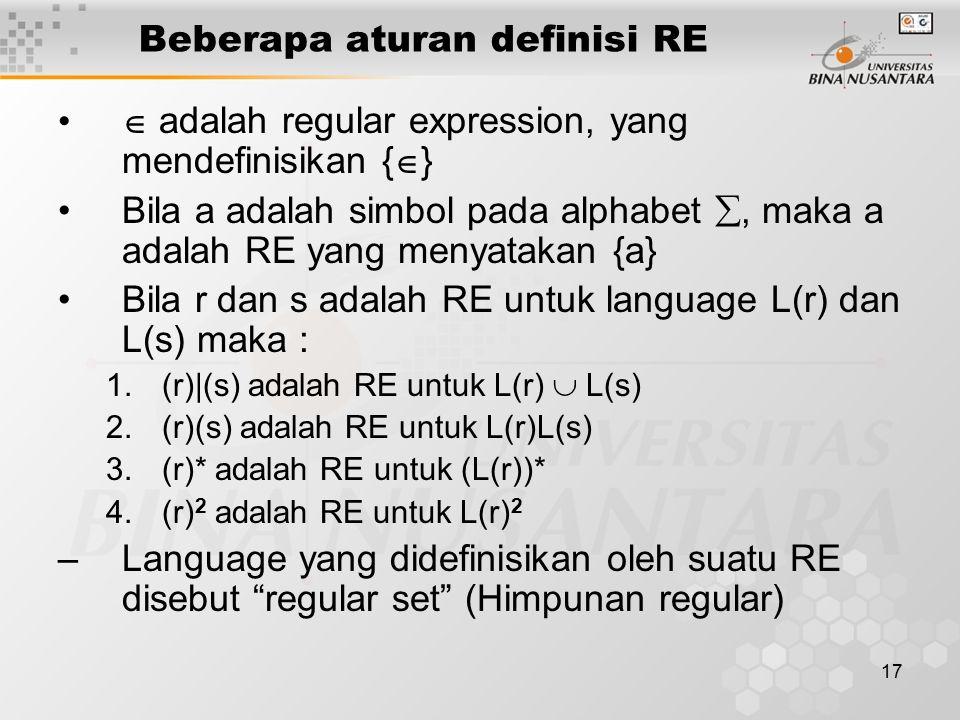 17 Beberapa aturan definisi RE  adalah regular expression, yang mendefinisikan {  } Bila a adalah simbol pada alphabet , maka a adalah RE yang meny