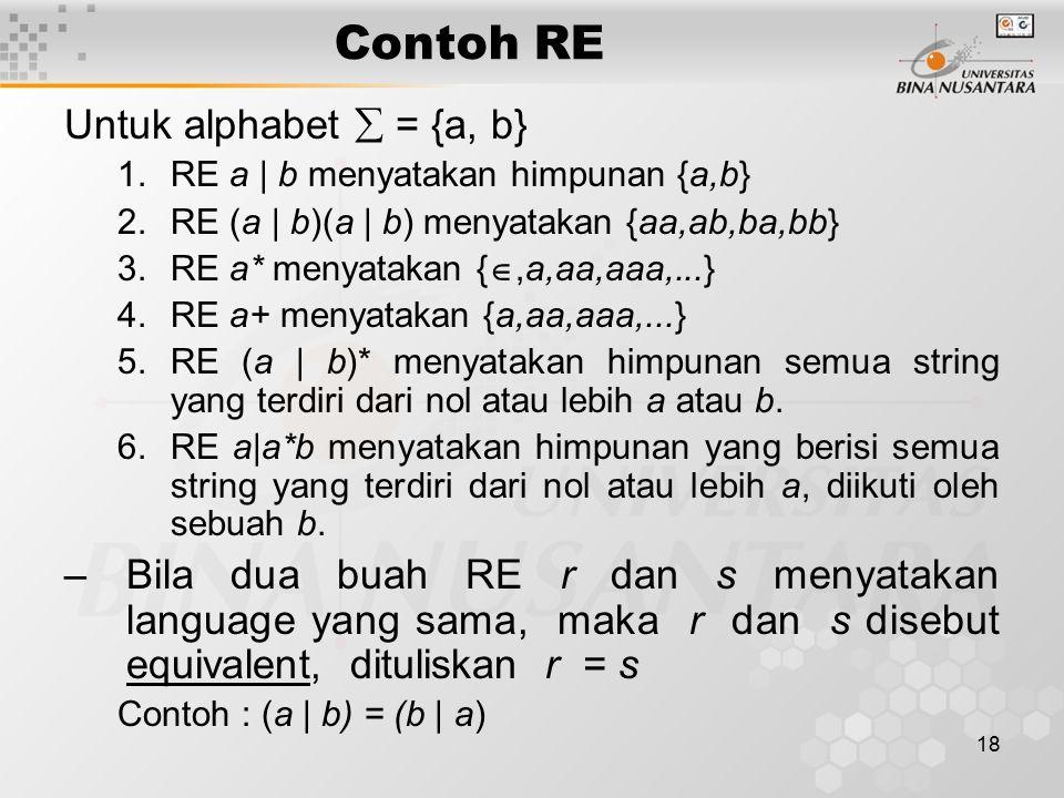 18 Contoh RE Untuk alphabet  = {a, b} 1.RE a | b menyatakan himpunan {a,b} 2.RE (a | b)(a | b) menyatakan {aa,ab,ba,bb} 3.RE a* menyatakan { ,a,aa,a
