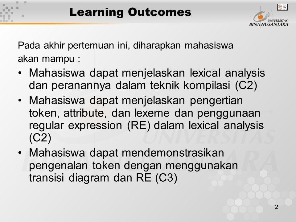 2 Learning Outcomes Pada akhir pertemuan ini, diharapkan mahasiswa akan mampu : Mahasiswa dapat menjelaskan lexical analysis dan peranannya dalam tekn