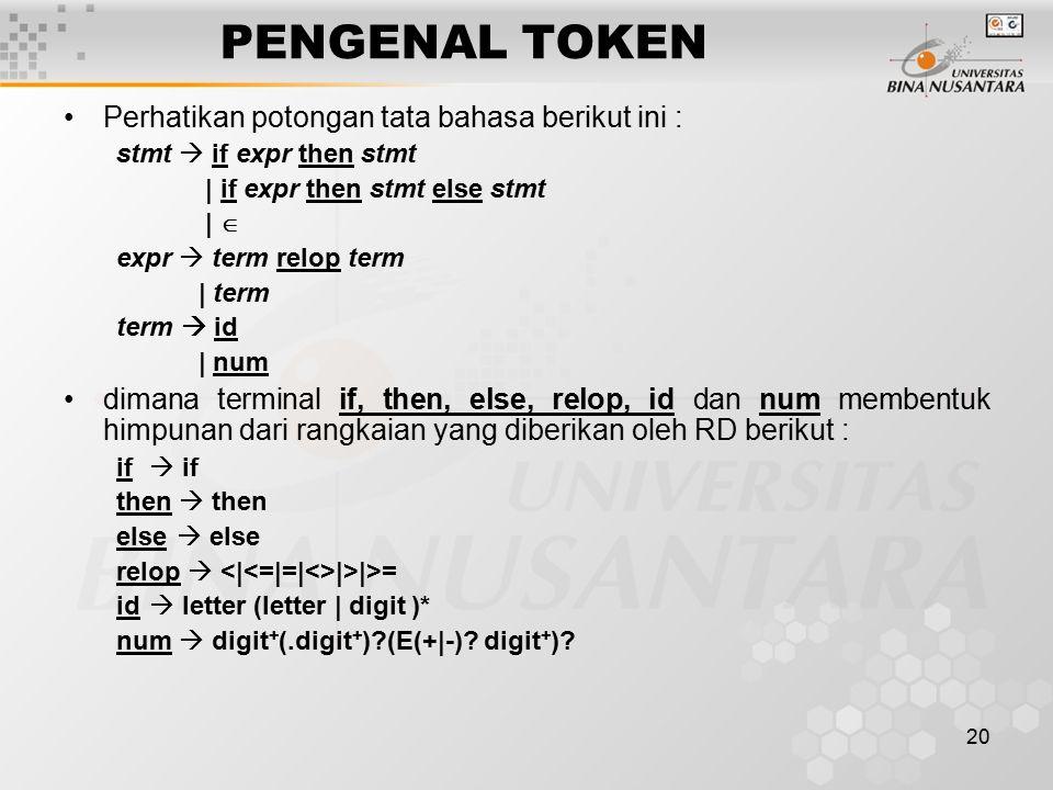 20 PENGENAL TOKEN Perhatikan potongan tata bahasa berikut ini : stmt  if expr then stmt | if expr then stmt else stmt |  expr  term relop term | te