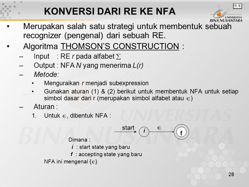 28 KONVERSI DARI RE KE NFA Merupakan salah satu strategi untuk membentuk sebuah recognizer (pengenal) dari sebuah RE. Algoritma THOMSON'S CONSTRUCTION
