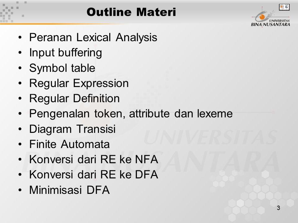 4 Peranan Lexical Analyzer (Scanner) Membaca Source program (input characters) & menghasilkan output berupa rangkaian token.