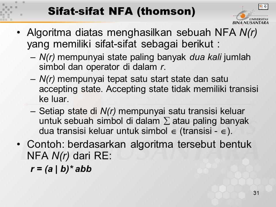 31 Sifat-sifat NFA (thomson) Algoritma diatas menghasilkan sebuah NFA N(r) yang memiliki sifat-sifat sebagai berikut : –N(r) mempunyai state paling ba