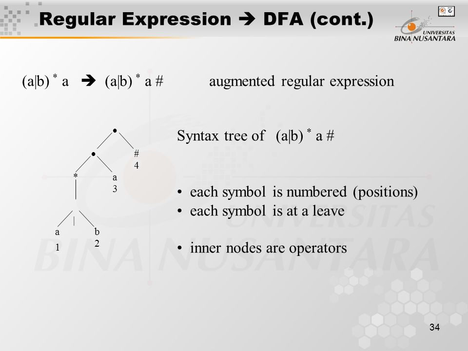34 Regular Expression  DFA (cont.) (a|b) * a  (a|b) * a #augmented regular expression  *  | b a # a 1 4 3 2 Syntax tree of (a|b) * a # each symbol