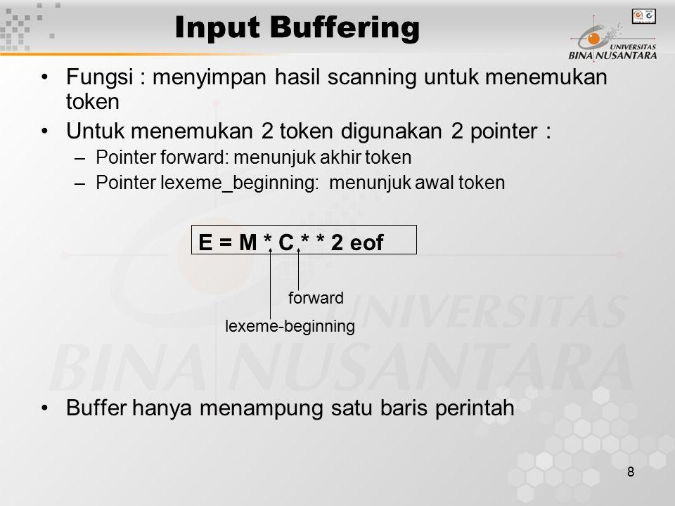 8 Input Buffering Fungsi : menyimpan hasil scanning untuk menemukan token Untuk menemukan 2 token digunakan 2 pointer : –Pointer forward: menunjuk akh
