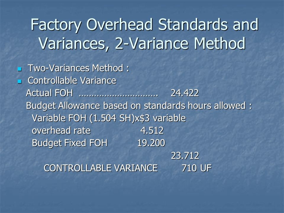 Factory Overhead Standards and Variances, 2-Variance Method Factory Overhead Standards and Variances, 2-Variance Method Two-Variances Method : Two-Var