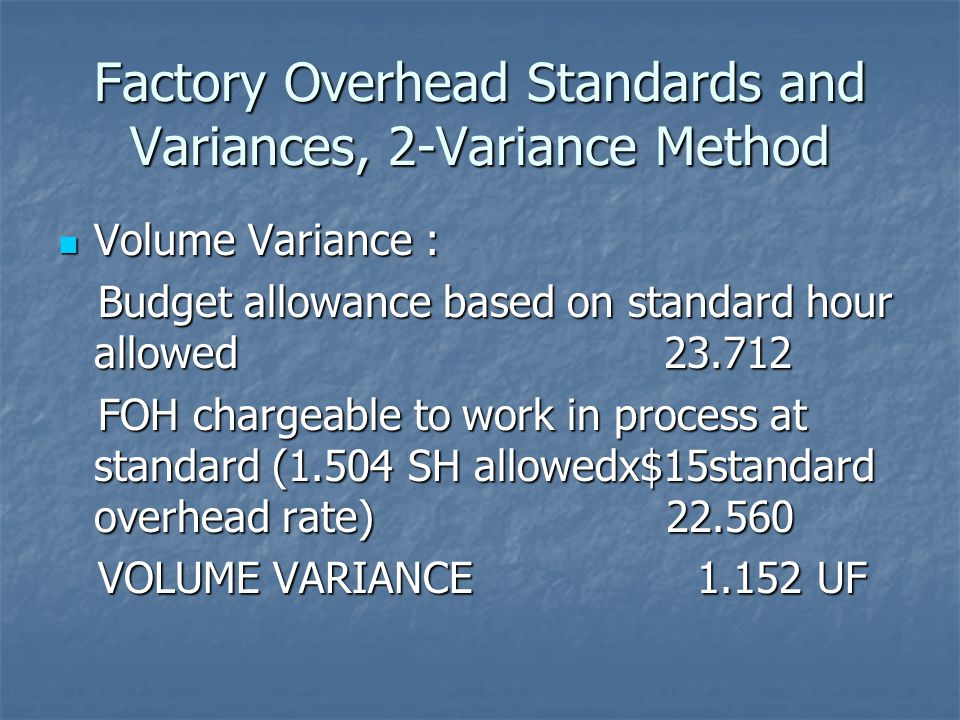 Factory Overhead Standards and Variances, 2-Variance Method Volume Variance : Volume Variance : Budget allowance based on standard hour allowed 23.712