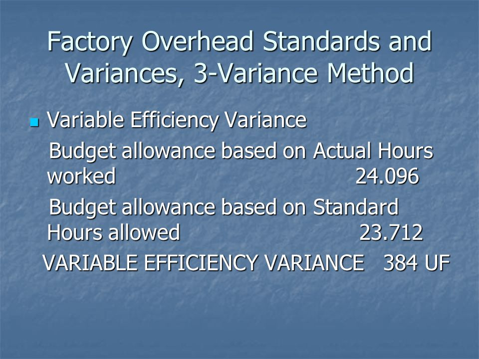 Factory Overhead Standards and Variances, 3-Variance Method Variable Efficiency Variance Variable Efficiency Variance Budget allowance based on Actual