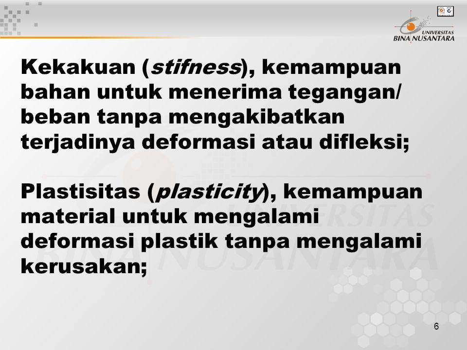 6 Kekakuan (stifness), kemampuan bahan untuk menerima tegangan/ beban tanpa mengakibatkan terjadinya deformasi atau difleksi; Plastisitas (plasticity), kemampuan material untuk mengalami deformasi plastik tanpa mengalami kerusakan;