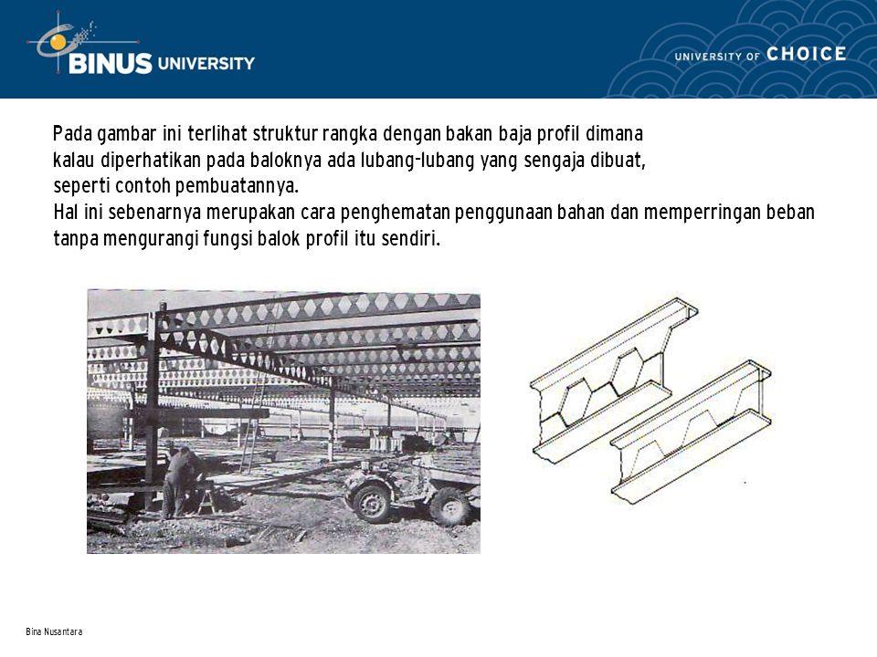 Bina Nusantara Pada gambar ini terlihat struktur rangka dengan bakan baja profil dimana kalau diperhatikan pada baloknya ada lubang-lubang yang sengaj