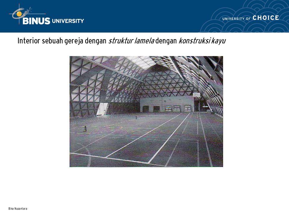Bina Nusantara Interior sebuah gereja dengan struktur lamela dengan konstruksi kayu