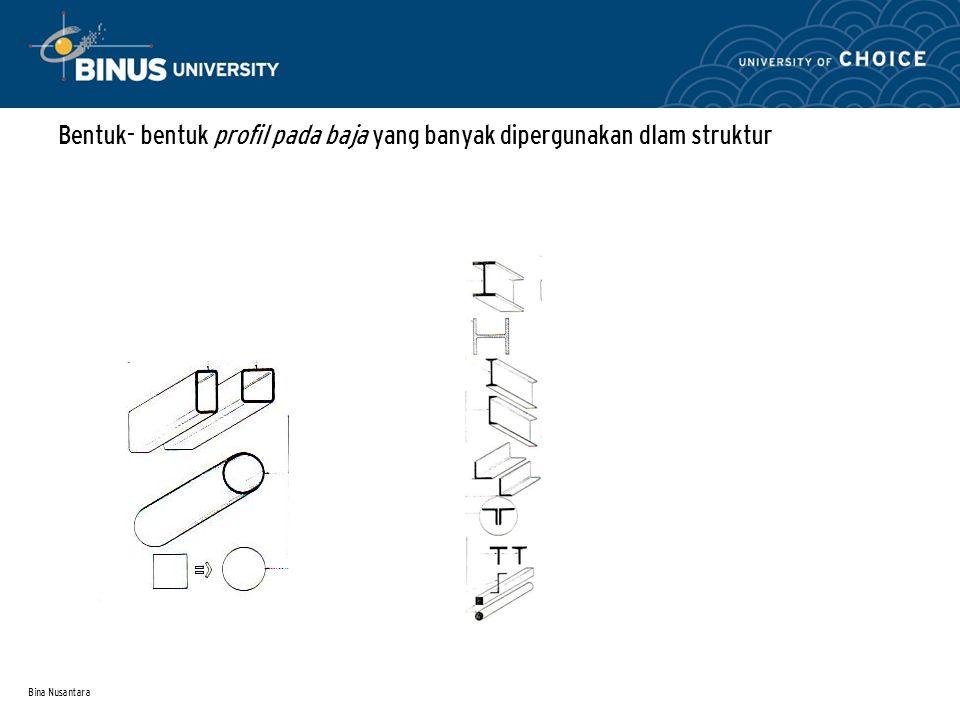 Bina Nusantara Bentuk- bentuk profil pada baja yang banyak dipergunakan dlam struktur