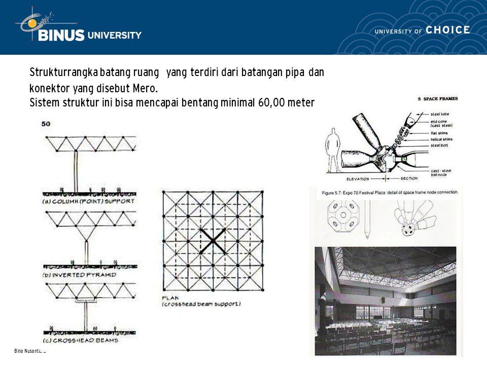 Bina Nusantara Strukturrangka batang ruang yang terdiri dari batangan pipa dan konektor yang disebut Mero. Sistem struktur ini bisa mencapai bentang m