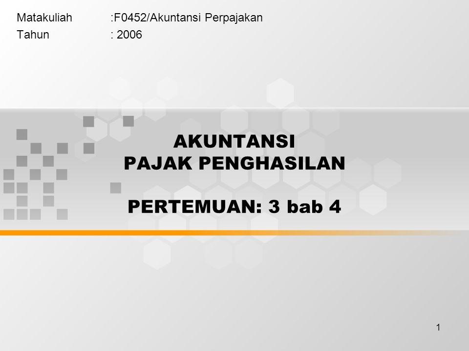 1 Matakuliah:F0452/Akuntansi Perpajakan Tahun: 2006 AKUNTANSI PAJAK PENGHASILAN PERTEMUAN: 3 bab 4