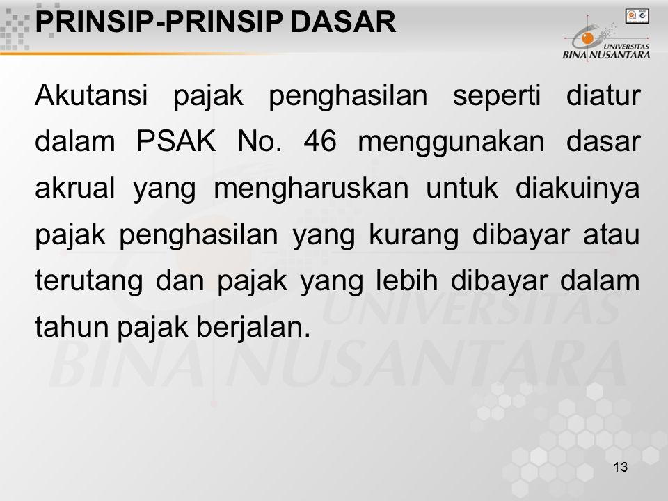 13 PRINSIP-PRINSIP DASAR Akutansi pajak penghasilan seperti diatur dalam PSAK No. 46 menggunakan dasar akrual yang mengharuskan untuk diakuinya pajak