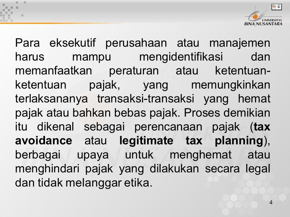 4 Para eksekutif perusahaan atau manajemen harus mampu mengidentifikasi dan memanfaatkan peraturan atau ketentuan- ketentuan pajak, yang memungkinkan terlaksananya transaksi-transaksi yang hemat pajak atau bahkan bebas pajak.