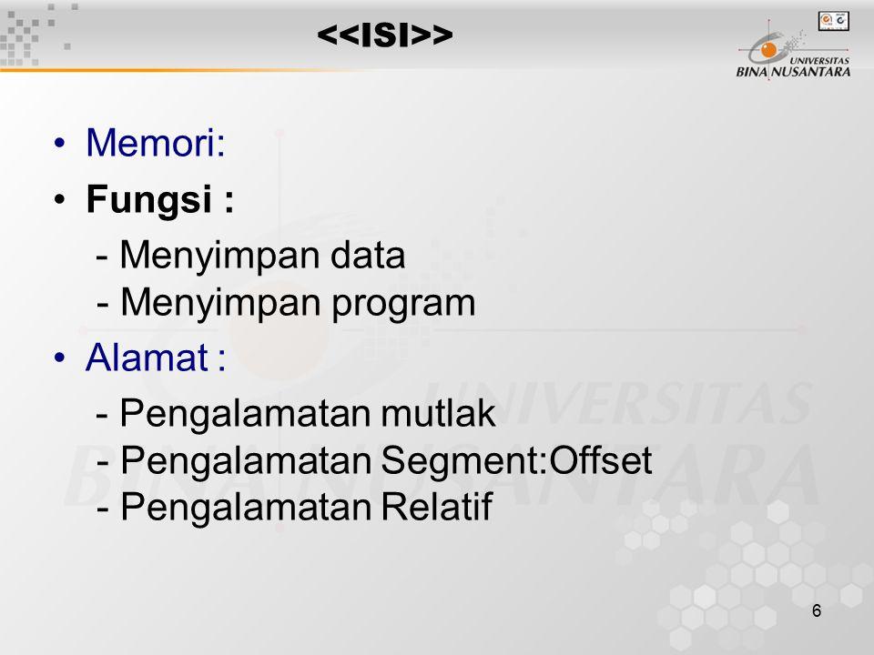 6 Memori: Fungsi : - Menyimpan data - Menyimpan program Alamat : - Pengalamatan mutlak - Pengalamatan Segment:Offset - Pengalamatan Relatif