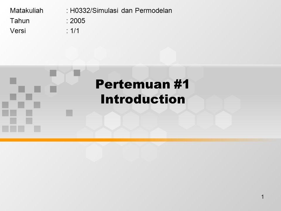 1 Pertemuan #1 Introduction Matakuliah: H0332/Simulasi dan Permodelan Tahun: 2005 Versi: 1/1