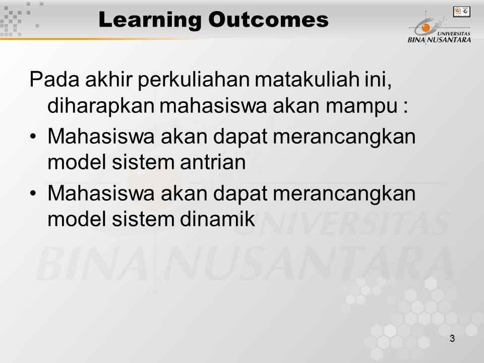 3 Learning Outcomes Pada akhir perkuliahan matakuliah ini, diharapkan mahasiswa akan mampu : Mahasiswa akan dapat merancangkan model sistem antrian Mahasiswa akan dapat merancangkan model sistem dinamik
