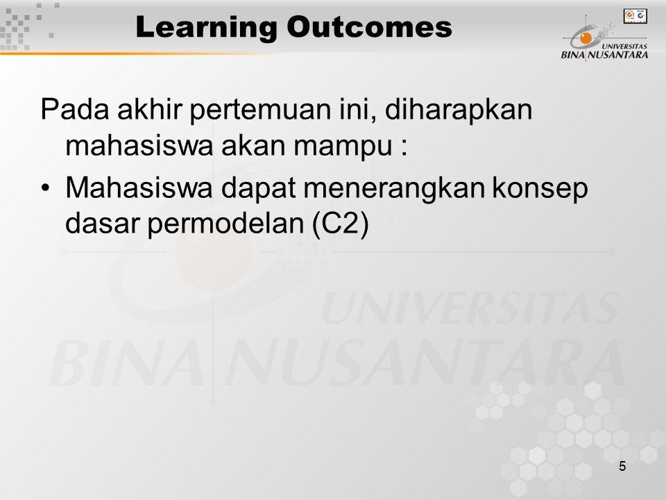 5 Learning Outcomes Pada akhir pertemuan ini, diharapkan mahasiswa akan mampu : Mahasiswa dapat menerangkan konsep dasar permodelan (C2)