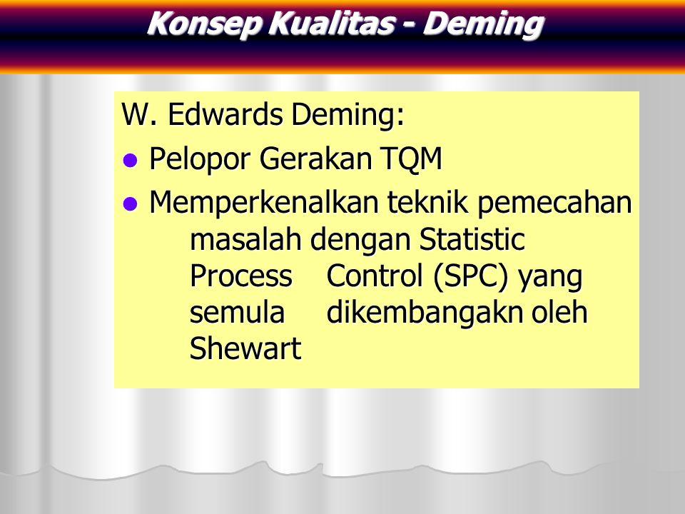W. Edwards Deming: Pelopor Gerakan TQM Pelopor Gerakan TQM Memperkenalkan teknik pemecahan masalah dengan Statistic Process Control (SPC) yang semula
