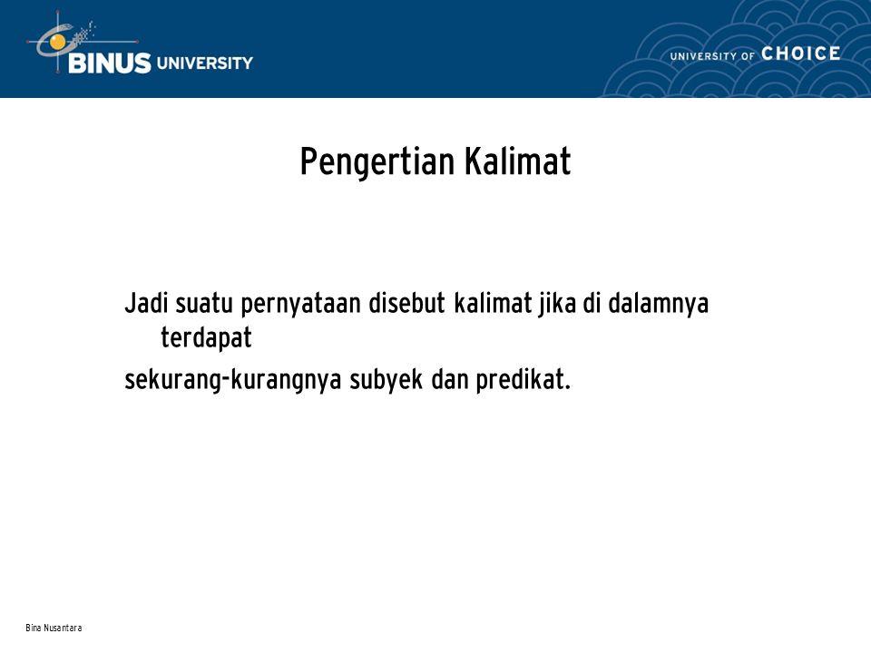 Bina Nusantara Unsur-unsur Kalimat Subyek Predikat Objek Pelengkap Keterangan