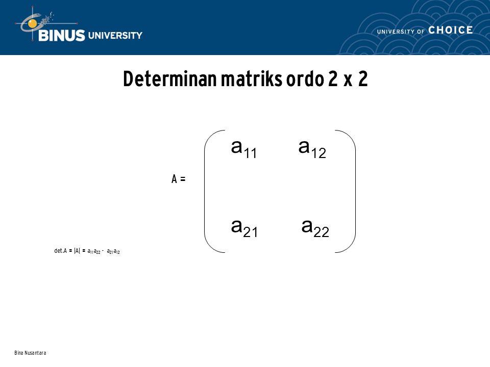 Bina Nusantara Determinan matriks ordo 2 x 2 A = det.A = |A| = a 11 a 22 - a 21 a 12 a 11 a 12 a 21 a 22
