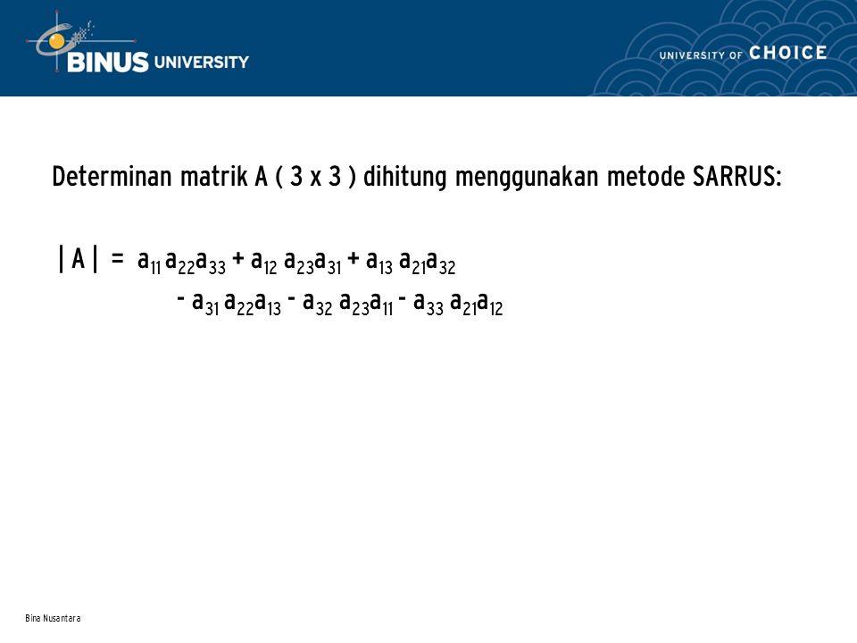 Bina Nusantara Determinan matrik A ( 3 x 3 ) dihitung menggunakan metode SARRUS: | A | = a 11 a 22 a 33 + a 12 a 23 a 31 + a 13 a 21 a 32 - a 31 a 22