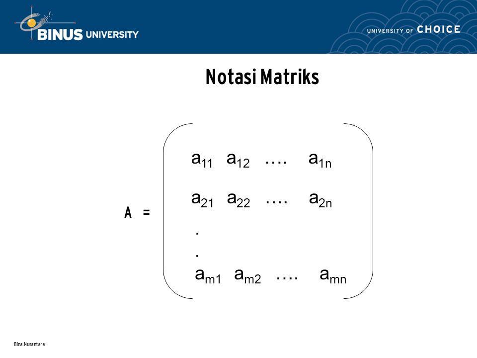 Bina Nusantara Notasi Matriks A = a 11 a 12 …. a 1n a 21 a 22 …. a 2n. a m1 a m2 …. a mn