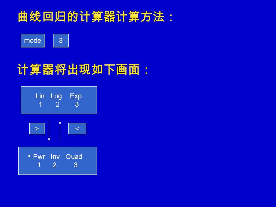 曲线回归的计算器计算方法: 计算器将出现如下画面: mode3 Lin Log Exp 1 2 3 >< Pwr Inv Quad 1 2 3