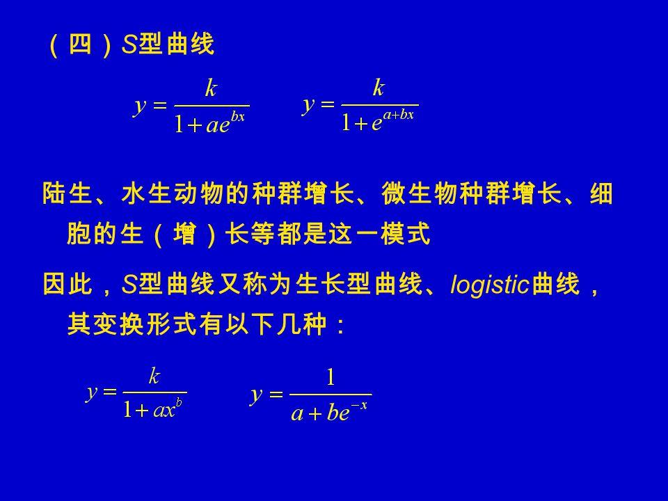 (四) S 型曲线 陆生、水生动物的种群增长、微生物种群增长、细 胞的生(增)长等都是这一模式 因此, S 型曲线又称为生长型曲线、 logistic 曲线, 其变换形式有以下几种: