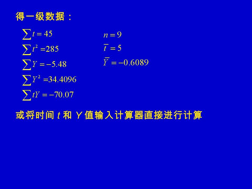 得一级数据: 或将时间 t 和 Y 值输入计算器直接进行计算