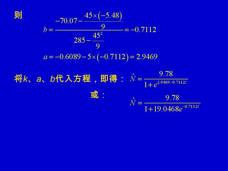 则 将 k 、 a 、 b 代入方程,即得: 或: