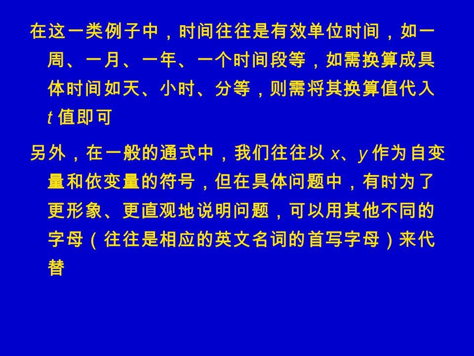 在这一类例子中,时间往往是有效单位时间,如一 周、一月、一年、一个时间段等,如需换算成具 体时间如天、小时、分等,则需将其换算值代入 t 值即可 另外,在一般的通式中,我们往往以 x 、 y 作为自变 量和依变量的符号,但在具体问题中,有时为了 更形象、更直观地说明问题,可以用其他不同的 字母(往往是相应的英文名词的首写字母)来代 替
