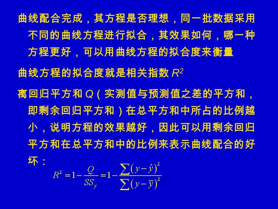 曲线配合完成,其方程是否理想,同一批数据采用 不同的曲线方程进行拟合,其效果如何,哪一种 方程更好,可以用曲线方程的拟合度来衡量 曲线方程的拟合度就是相关指数 R 2 离回归平方和 Q (实测值与预测值之差的平方和, 即剩余回归平方和)在总平方和中所占的比例越 小,说明方程的效果越好,因此可以用剩余回归 平方和在总平方和中的比例来表示曲线配合的好 坏: