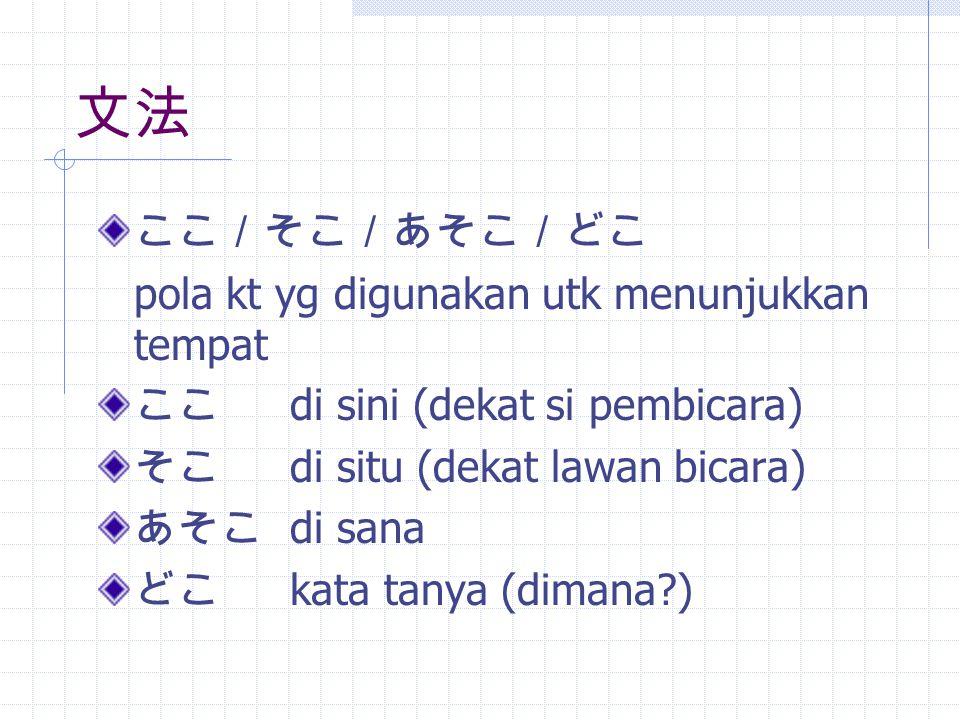 こちら/そちら/あちら/どちら selain digunakan utk menunjukkan tempat (lebih sopan)bisa juga menunjukkan arah こちら di sebelah sini そちら di sebelah situ あちら di sebelah sana どちら mana, di sebelah mana (kata tanya)