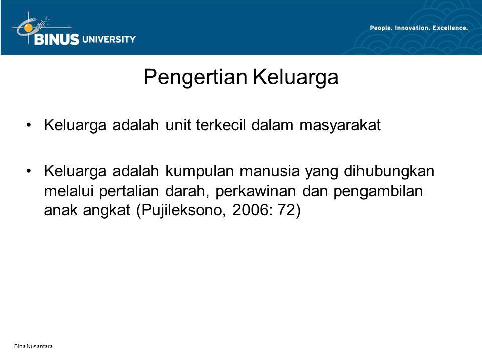Bina Nusantara Pengertian Keluarga Keluarga adalah unit terkecil dalam masyarakat Keluarga adalah kumpulan manusia yang dihubungkan melalui pertalian darah, perkawinan dan pengambilan anak angkat (Pujileksono, 2006: 72)