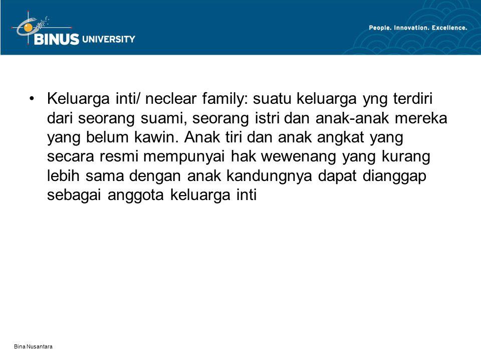 Bina Nusantara Keluarga inti/ neclear family: suatu keluarga yng terdiri dari seorang suami, seorang istri dan anak-anak mereka yang belum kawin.
