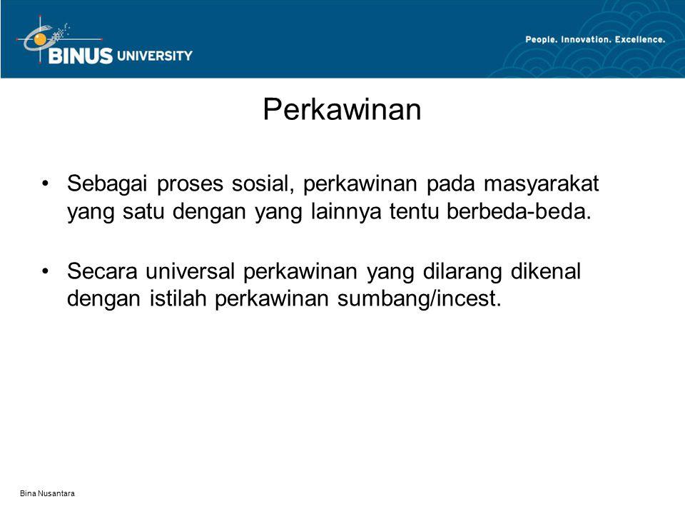Bina Nusantara Beberapa Bentuk pekawinan dalam Masyarakat Endogamy Eksogamy Monogamy Poligami Levirat Sororat Perkawinan berturut Perkawinan kelompok