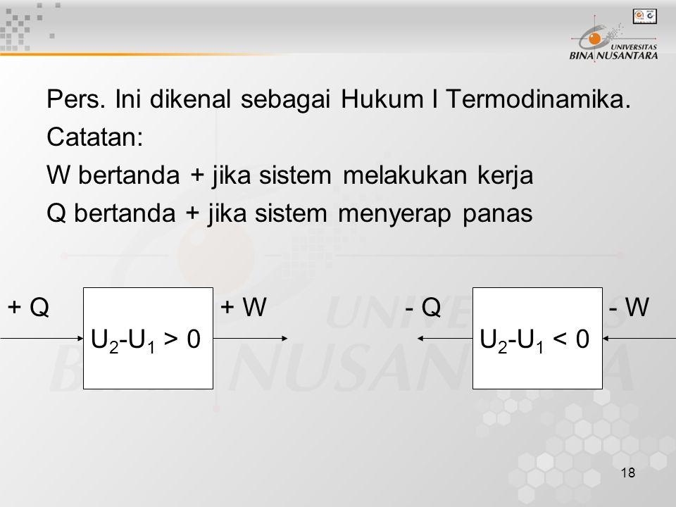 18 Pers.Ini dikenal sebagai Hukum I Termodinamika.