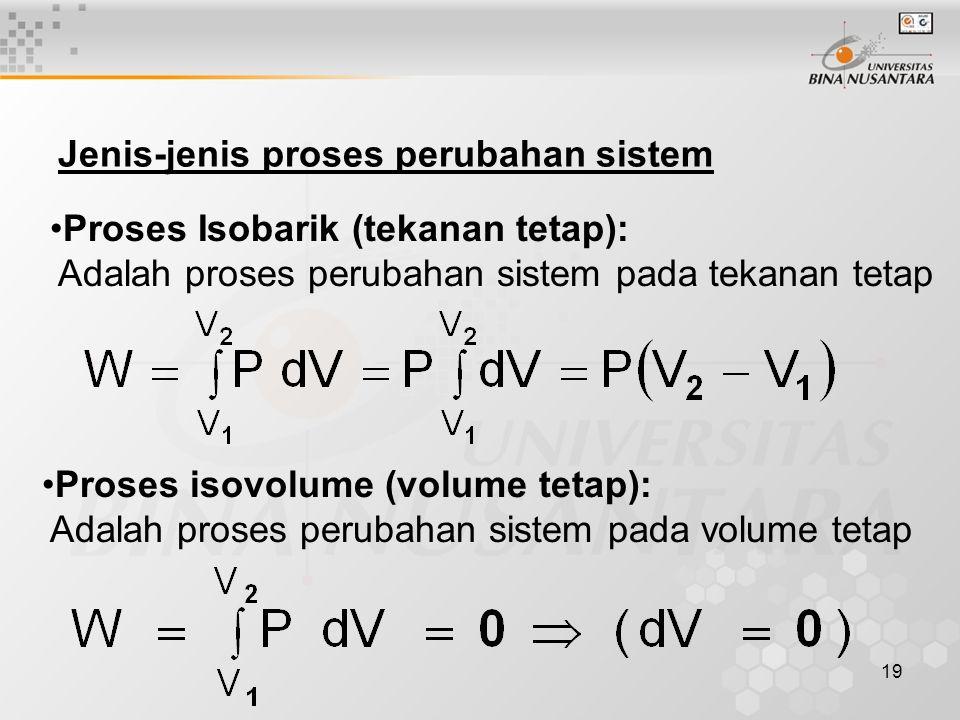 19 Jenis-jenis proses perubahan sistem Proses Isobarik (tekanan tetap): Adalah proses perubahan sistem pada tekanan tetap Proses isovolume (volume tetap): Adalah proses perubahan sistem pada volume tetap