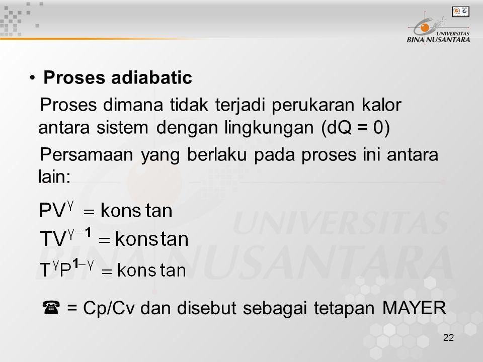 22 Proses adiabatic Proses dimana tidak terjadi perukaran kalor antara sistem dengan lingkungan (dQ = 0) Persamaan yang berlaku pada proses ini antara lain:  = Cp/Cv dan disebut sebagai tetapan MAYER