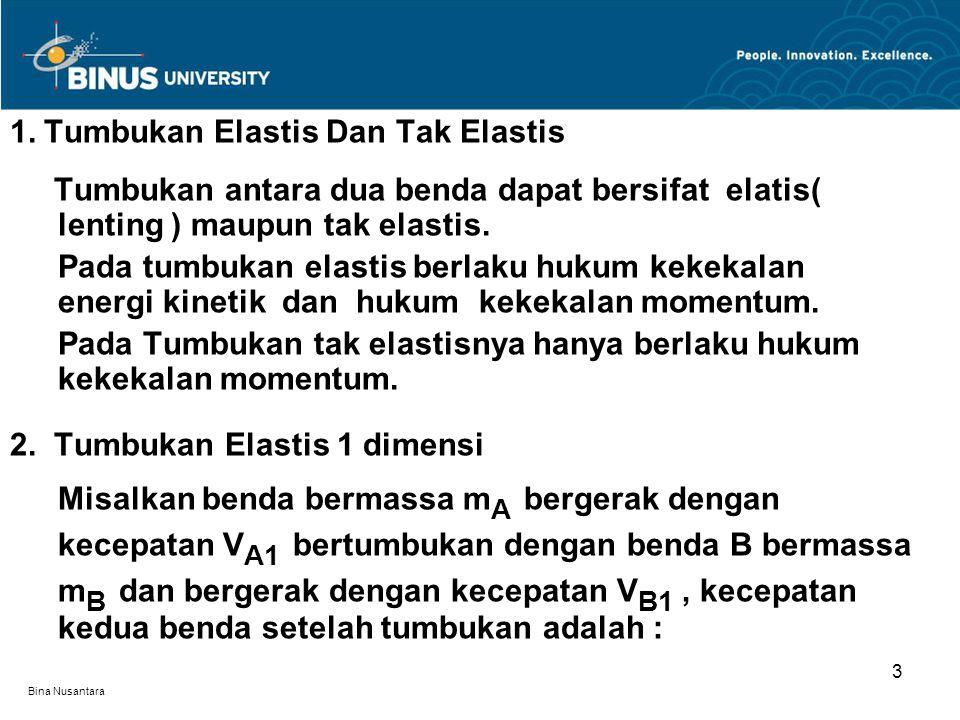 Bina Nusantara 1. Tumbukan Elastis Dan Tak Elastis Tumbukan antara dua benda dapat bersifat elatis( lenting ) maupun tak elastis. Pada tumbukan elasti