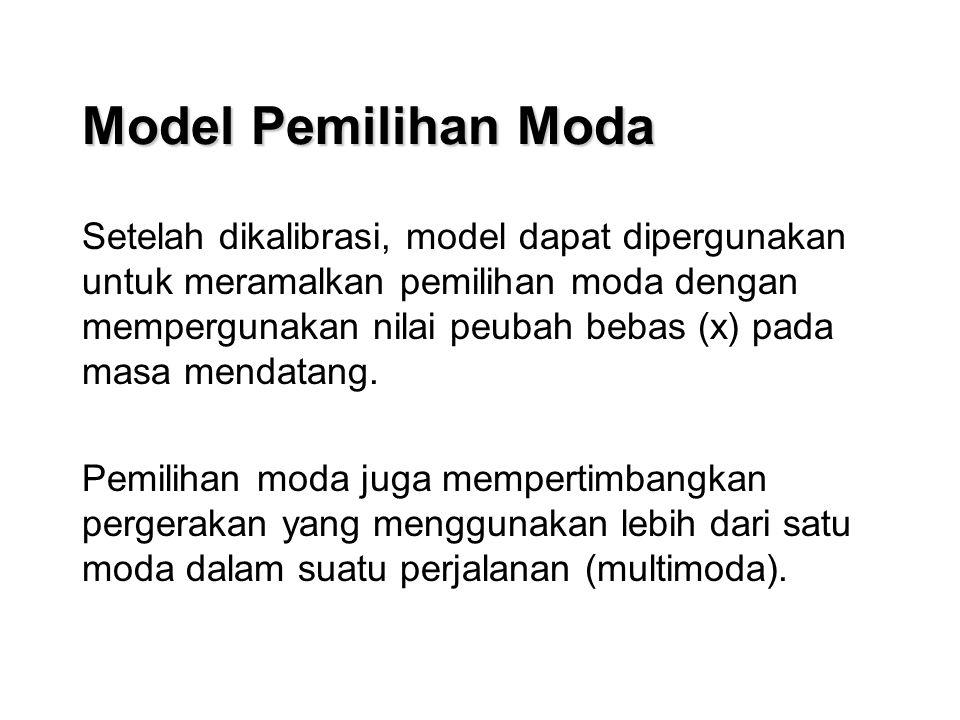 Model Pemilihan Moda Setelah dikalibrasi, model dapat dipergunakan untuk meramalkan pemilihan moda dengan mempergunakan nilai peubah bebas (x) pada masa mendatang.
