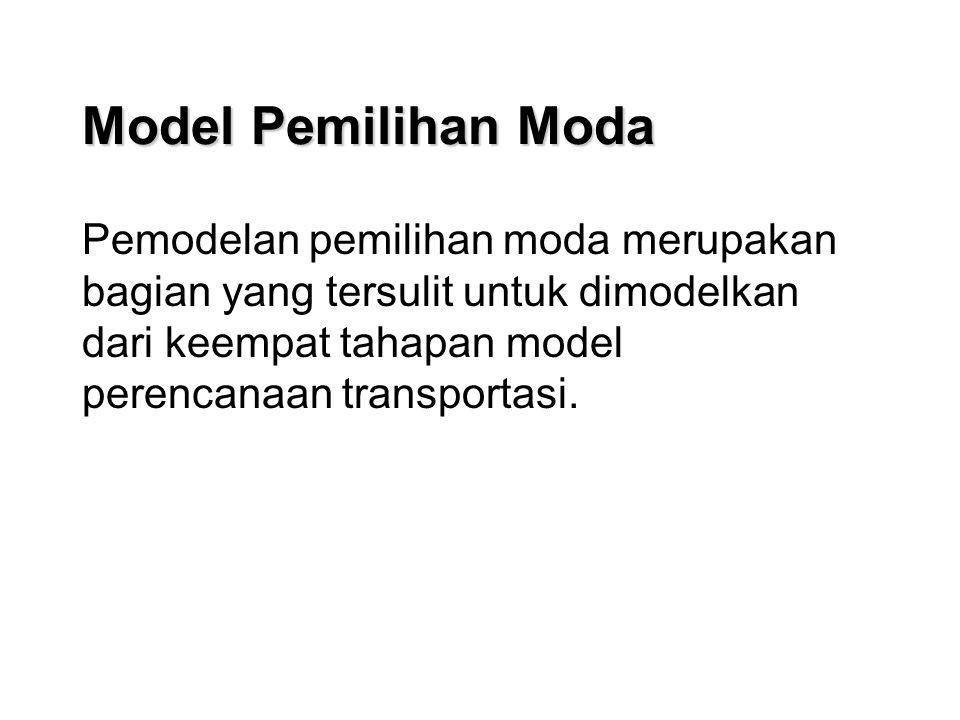 Model Pemilihan Moda Pemodelan pemilihan moda merupakan bagian yang tersulit untuk dimodelkan dari keempat tahapan model perencanaan transportasi.