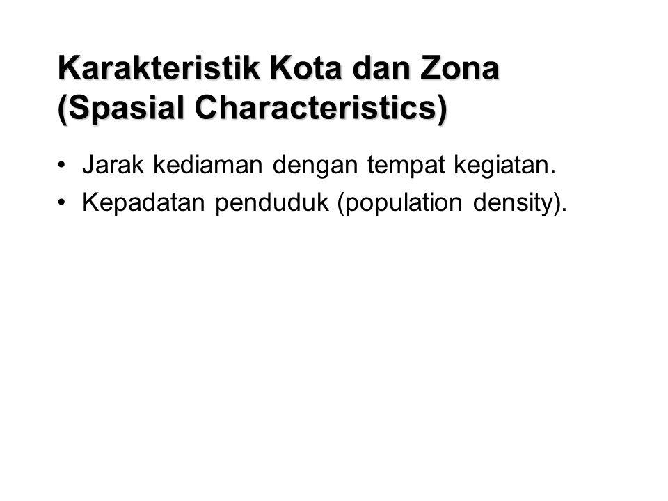 Karakteristik Kota dan Zona (Spasial Characteristics) Jarak kediaman dengan tempat kegiatan.