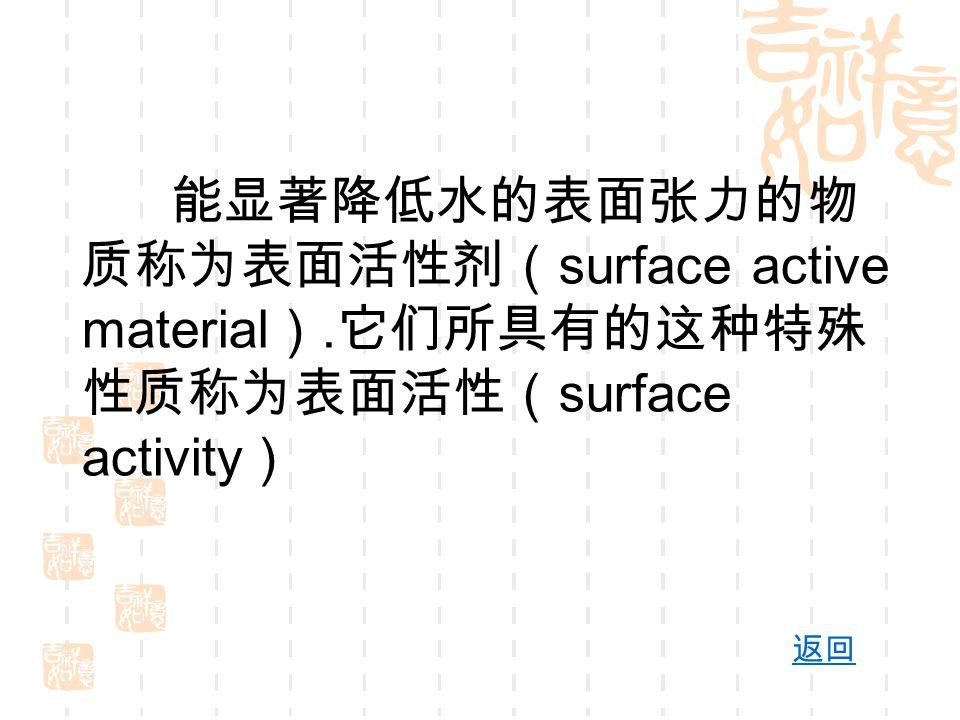 能显著降低水的表面张力的物 质称为表面活性剂( surface active material ). 它们所具有的这种特殊 性质称为表面活性( surface activity ) 返回